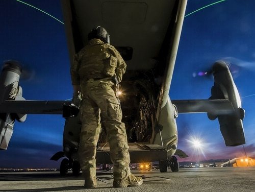 A mentally disturbed man breached the gate at RAF Mildenhall in December 2017 and managed to drive onto the flightline before the chase eneded at the back of an CV-22 Osprey. (Senior Airman Kevin Tanenbaum/Air Force)