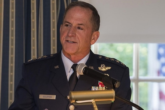 Chief of Staff Gen. Dave Goldfein speaks at a Mitchell Institute event in 2019. (Adrian Cadiz/Air Force)