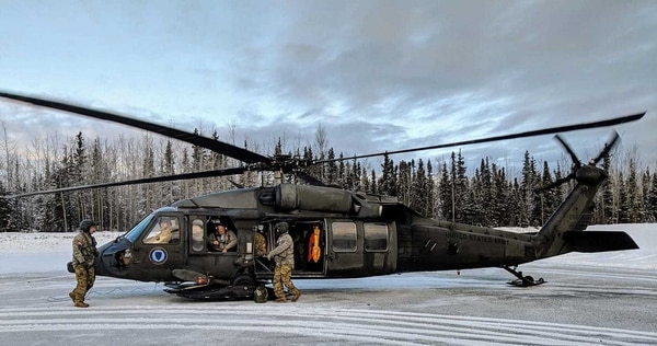 An Alaska Army National Guard UH-60 Black Hawk helicopter departs Joint Base Elmendorf-Richardson, Alaska, to conduct an aerial site survey after a 7.0 magnitude earthquake struck nine miles from Anchorage at 8:29 a.m. (Balinda O'Neal Dresel/Army Guard)