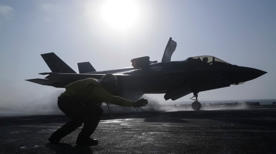 reputable site 93b4f a90af An F-35B Lightning II launches from the Wasp-class amphibious assault ship  USS