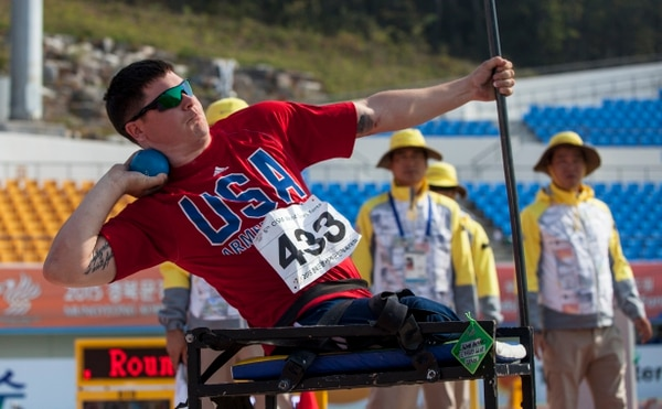 U.S. track and field athlete Ivan Sears competes in the Men's Shot Put Para (Class D) during the 6th CISM World Games. The 6th CISM World Games provides the opportunity for the athletes of over 100 different nations to come together and enjoy friendship through sport. The sixth annual CISM World Games are being held aboard Mungyeong, South Korea, Sept. 30-Oct. 11. (Photo by Sgt. Ashley N. Cano)