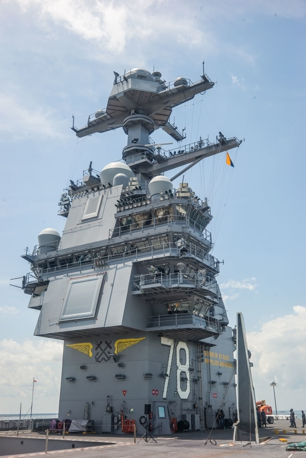 Aboard the USS Ford (July 10, 2017) The island's size and placement is a major difference between the design of the aircraft carrier Gerald Ford and the previous Nimitz-class. It's nearly half the size and it's location is further back on the starboard side, changing the dynamics for flight deck operations as well as how the ship is navigated.