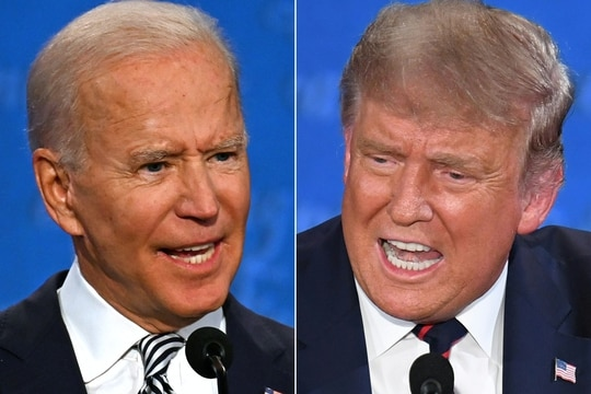 Democratic presidential candidate and former Vice President Joe Biden, left, and President Donald Trump speak during the first presidential debate at the Case Western Reserve University in Cleveland on Sept. 29, 2020. (Jim Watson and Saul Loeb/AFP)