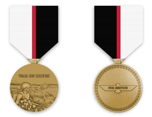 A mock-up of the proposed War on Drugs service medal (Courtesy Thomas Marriott)