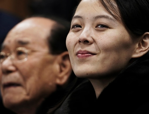 In this Feb. 10, 2018, file photo, Kim Yo Jong, the sister of North Korean leader Kim Jong Un, waits with North Korea's nominal head of state, Kim Yong Nam, for the start of a women's hockey game at the 2018 Winter Olympics in Gangneung, South Korea. (Felipe Dana/AP)