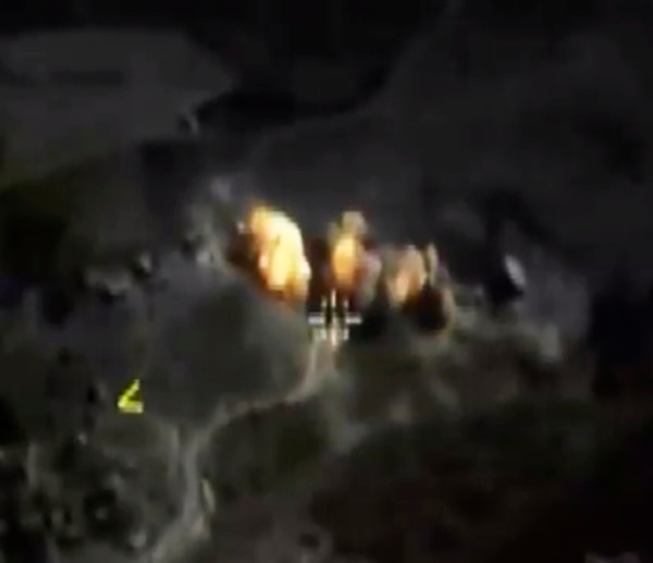 In this photo made from the footage taken from Russian Defense Ministry official web site on Saturday, Oct. 3, 2015 a bomb explosion is seen in Syria. Pentagon officials urged the Russian military on Thursday to focus its airstrikes in Syria on Islamic State fighters rather than opponents of Syrian President Bashar Assad, U.S. administration officials said. (Russian Defense Ministry Press Service via AP)