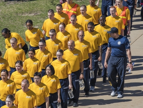 A Navy recruit died Tuesday at the Navy's boot camp at Great Lakes, Ill. Recruits are shown there earlier this month. (Navy)