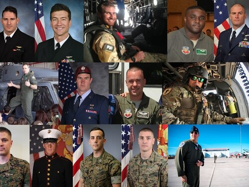 Since March 14, six military aviation crashes have killed 16 pilots or crew. From left to right: March 14, Navy aviators Lt. Caleb Nathaniel King and Lt. Cmdr. James Brice Johnson were killed when their Super Hornet F/A-18F strike fighter crashed during a training flight in Florida. On March 15, seven airmen on a HH-60 Pave Hawk helicopter were killed during a routine transit flight in Iraq: Air Force Reserve Pararescueman Staff Sgt. Carl Enis, New York Air National Guard Staff Sgt. Dashan Briggs; Pararescueman Tech. Sgt. William Posch, New York Air National Guard Capt. Andreas O'Keefe, 38th Rescue Squadron Capt. Mark Weber, New York Air National Guardsmen Capt. Christopher Zanetis and Master Sgt. Christopher Raguso. On April 3, a CH-53E Super Stallion helicopter crashed during a training flight in California killing the four Marines aboard: 1st Lt. Samuel D. Phillips, Lance Cpl. Taylor J. Conrad, Capt. Samuel A. Schultz and Gunnery Sgt. Derik R Holley. On April 4, two crashes occurred. An Air Force Thunderbirds F-16 Fighting Falcon crashed in Nevada during a training flight, killing pilot Maj. Stephen Del Bagno. Separately, a Marine Corps AV-8B Harrier jet crashed in Djibouti during takeoff, the pilot ejected and survived. On April 7, the Army announced that an AH-64 Apache helicopter crashed during a training flight at Fort Campbell, Ky., killing two: Chief Warrant Officer 3 Ryan Connolly and Warrant Officer James Casadona (not pictured). (Military Times composite photo)