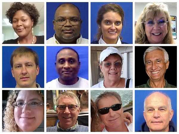 This combination of photos provided by the City of Virginia Beach on Saturday, June 1, 2019, shows victims of Friday's shooting at a municipal building in Virginia Beach, Va. Top row from left are Laquita C. Brown, Ryan Keith Cox, Tara Welch Gallagher and Mary Louise Gayle. Middle row from left are Alexander Mikhail Gusev, Joshua O. Hardy, Michelle