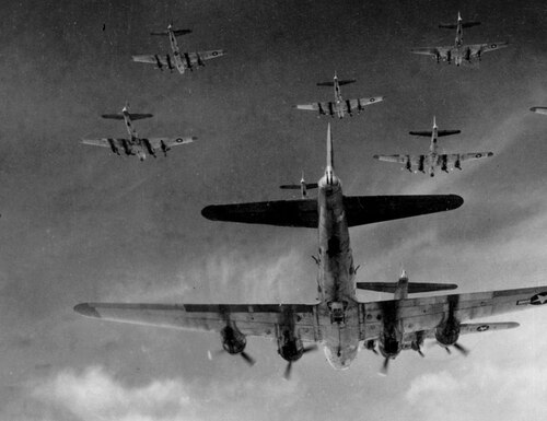 B-17 Flying Fortresses from the 398th Bombardment Group fly a bombing run to Neumunster, Germany, on April 13, 1945, less than one month before the German surrender on May 8. (Air Force)