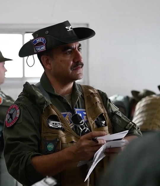 U.S. Air Force airmen with the 25th Aircraft Maintenance Unit and 25th Fighter Squadron prepare to fly in support of Exercise Cobra Gold 2020 at Korat Royal Thai Air Force Base, Thailand wearing Saigon Cowboy hats from their Vietnam War lineage. (U.S. Army photo by Sgt. Austin Fox)
