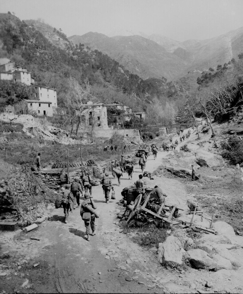 What it was like to fight in Italy. Moving up through Prato, men of the 370th Infantry Regiment have yet to climb the mountain which lies ahead. (National Archives)