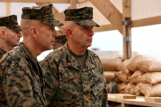 Commandant of the Marine Corps Gen. David H. Berger, right, speaks with Brig. Gen. David Odom, commanding general of Task Force Southwest, while visiting Camp Shorab, Helmand province, Afghanistan, Dec. 12, 2019. (Sgt. Olivia G. Knapp/Marine Corps)