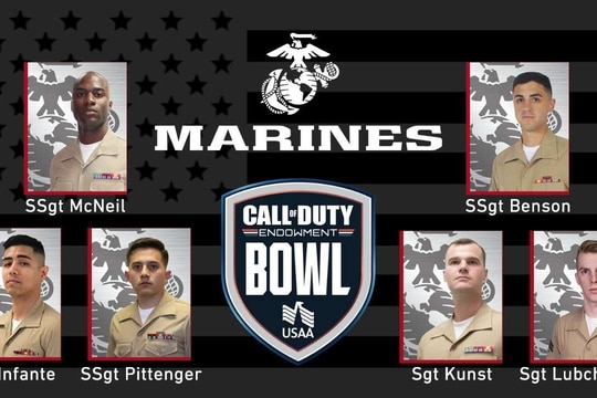 Marines competing in Call of Duty Endowment Bowl on Friday: Staff Sgt. Anthony Benson, Staff Sgt. Bradly Pittenger, Sgt. Gerardo Infante, Sgt. Brian Kunst, Staff Sgt. James McNeil, Sgt. Nicholas Lubchenko. (Courtesy image)