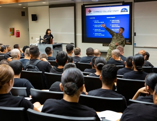 Visiting scholars receive a briefing during their visit to Cypress College in California on Aug. 7, 2019, as part of a California National Guard program. (Staff Sgt. Crystal Housman/Air National Guard)