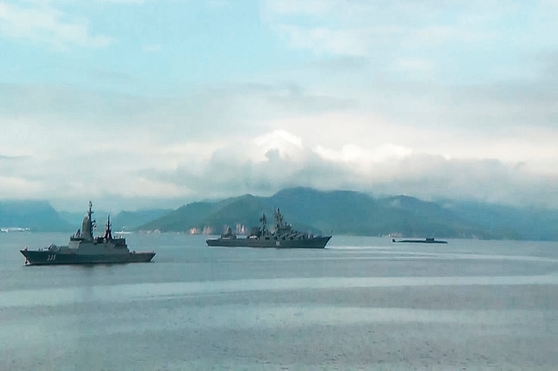 The Russian navy has conducted massive war games near Alaska involving dozens of ships and aircraft, it was announced Friday, Aug. 28, 2020 the biggest such drills in the area since the Soviet times. (Russian Defense Ministry Press Service via AP)