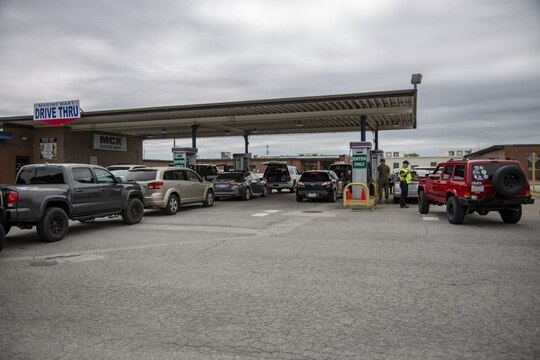 Gas stations at some military installations in the South are facing long lines and shortages. (MCCS Camp Lejeune and MCAS New River via Facebook)