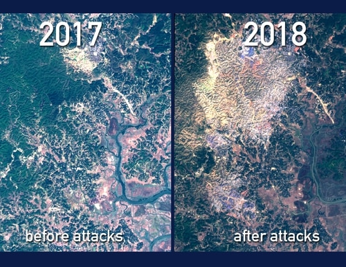Before and after optical satellite images from the Sentinel-2 satellite of the Kutupalong camp in Bangladesh, where many Rohingya refugees ended up after Myanmar government attacks in August 2017. (European Space Agency)