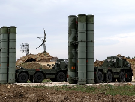 A picture shows two Russian S-400 Triumf S-400 Triumf missile system at the Russian Hmeimim military base in Latakia province, in the northwest of Syria, on December 16, 2015. Russia began its air war in Syria on September 30, conducting air strikes against a range of anti-regime armed groups including US-backed rebels and jihadist groups. Moscow has said it is fighting and other