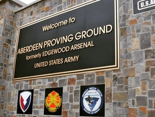 The entrance gate for Aberdeen Proving Ground, Md. (Army)