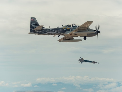 A Super Tucano A-29 aircraft flies over White Sands Missile Range on Aug. 1, 2017. The A-29 is participating in the second phase of the light attack experiment, which began in May 2018. (Ethan D. Wagner/U.S. Air Force)
