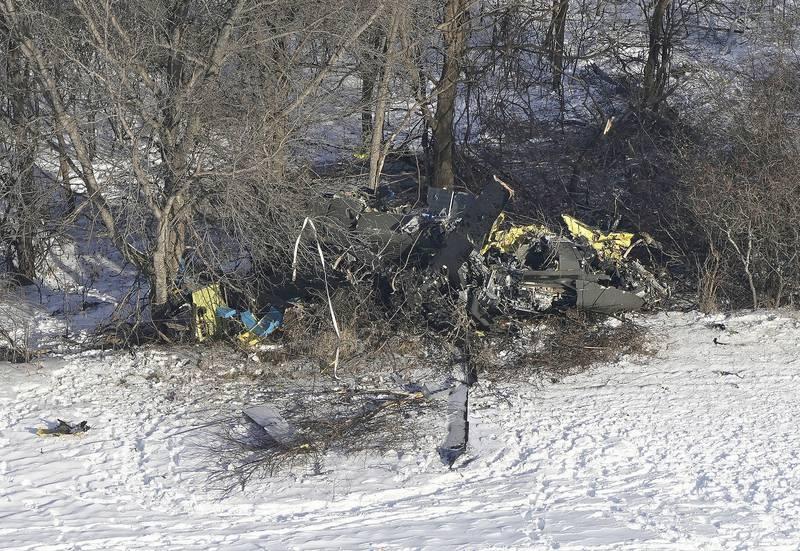 crash site of a Minnesota National Guard Black Hawk helicopter