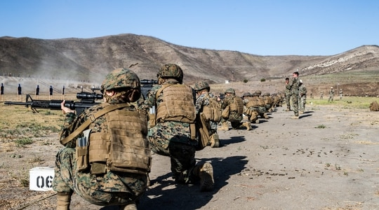 U.S. Marines participate in their annual rifle qualification at Range 116A on Marine Corps Base Camp Pendleton, California, Oct. 10, 2019. (Lance Cpl. Alison Dostie/Marine Corps)