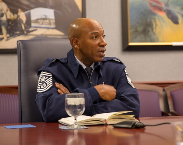 Chief Master Sergeant of the Air Force Kaleth Wright talks to Air Force Times and Defense News in a March 8, 2018 roundtable at the Pentagon. (Jeff Martin/Staff)