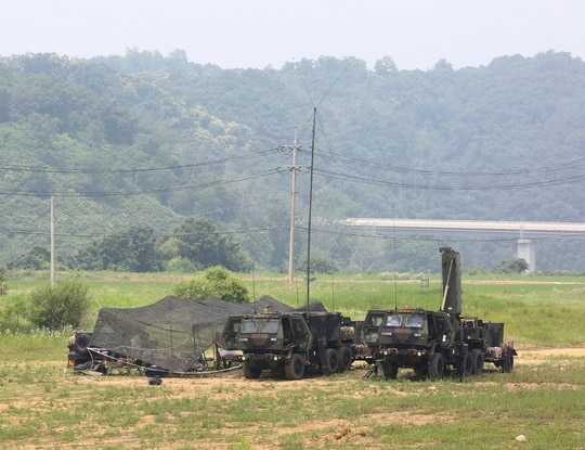 U.S. Army mobile equipment sits in a field in Yeoncheon, South Korea, near the border with North Korea, June 17, 2020. (Ahn Young-joon/AP)
