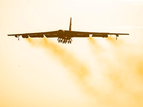 A B-52 Stratofortress flies overhead at RAF Fairford, England, Aug. 22, 2020. (Senior Airman Eugene Oliver/Air Force)