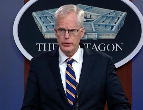 In this Nov. 17, 2020, image taken from a video, Acting Defense Secretary Christopher Miller speaks at the Pentagon in Washington. (Defense.gov via AP)