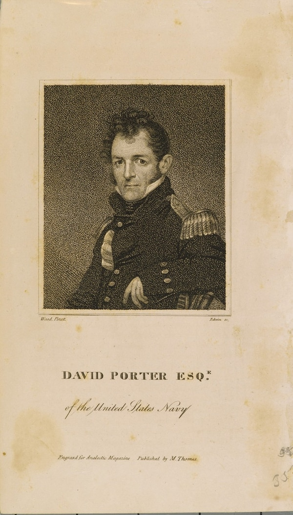 David Porter (1780-1843) served in the Navy continuously from about 1798 to 1826, when he left after a being tried for carrying out a punitive incident against Fajardo, Puerto Rico for jailing one of his officers. He served as commander-in-chief of the Mexican Navy from 1826 to 1829. He later served as U.S. Minister to the Barbary States and died while serving as U.S. Minister to Turkey. (U.S. Naval History and Heritage Command)