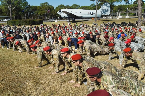 Special Tactics airmen perform their traditional