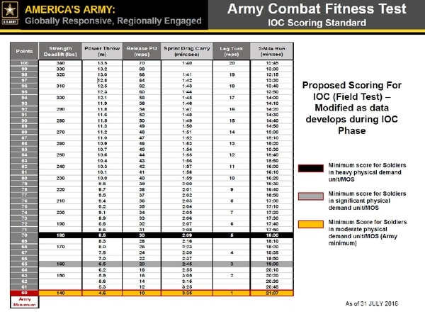 An early version of the Army's new PT test scoring leaked online. (Photo credit: CIMT)