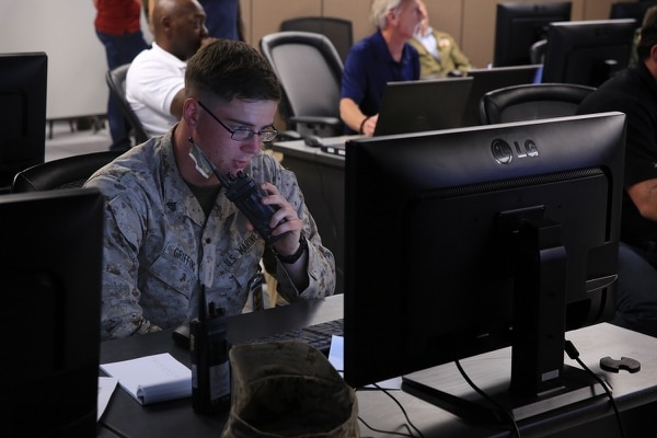 Marines at the Battle Simulations Center at Twentynine Palms recently paired Joint Terminal Attack Controllers with pilots to do coordinated attack simulations across three states. (Lance Cpl. Isaac Cantrell/Marine Corps)