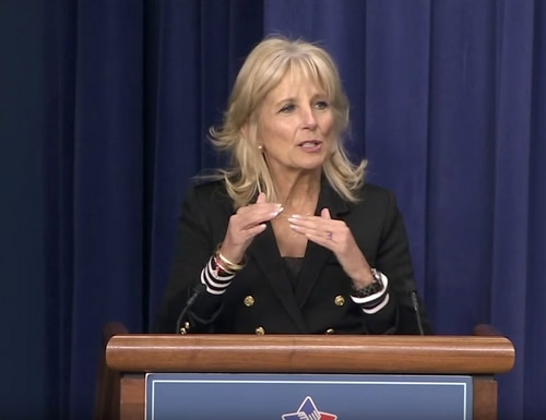 Jill Biden speaks at an Operation Educate the Educators event in April, 2016, as part of an effort to support military-connected students. (White House photo)