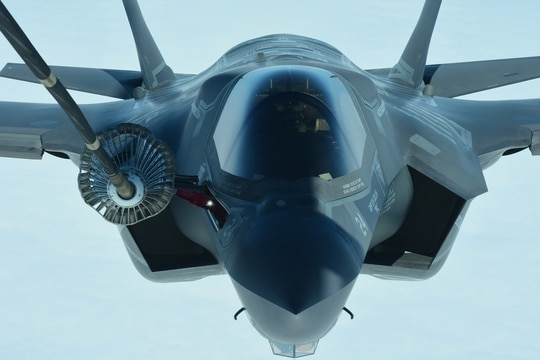 A U.S. Marine Corps pilot lines up a F-35B Lightning II to refuel from a KC-10 Extender on July 4, 2020. The F-35B was part of a formation of military aircraft that flew over Boston, New York City, Philadelphia, Baltimore and Washington during a