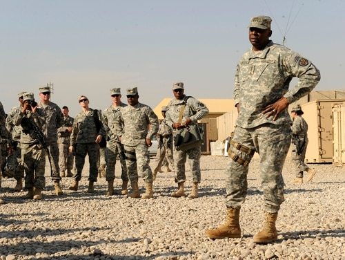 Then-Army Gen. Lloyd Austin, commanding general of U.S. Forces in Iraq, speaks with soldiers from the 25th Infantry Division at Forward Operating Base Warhorse in Diyala province, Iraq, on Nov. 16, 2010. (Sgt. Brandon Bolick/Army)