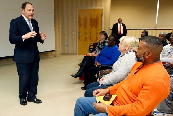Robert McDonald, then Department of Veterans Affairs secretary, answers questions from health care workers, veterans and the public during an open Town Hall meeting in Jackson, Miss., on Feb. 5, 2016. McDonald often emphasized the importance of VA to the larger U.S. medical system in his speeches to veterans. (Rogelio V. Solis/AP)