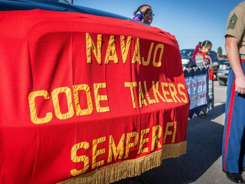 The 18th Sergeant Major of the Marine Corps, Ronald L. Green, attends a celebration of the National Navajo Code Talkers Day in Window Rock, Arizona, Aug 14, 2016. (Sgt. Melissa Marnell/Marine Corps)