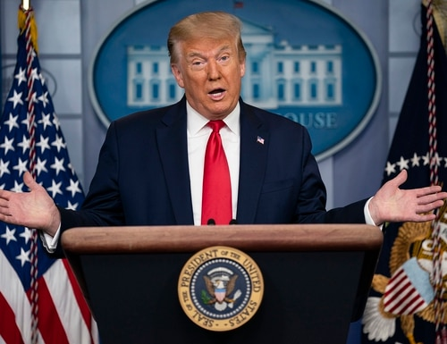 President Donald Trump speaks during a news briefing at the White House on July 2, 2020, in Washington. (Evan Vucci/AP)