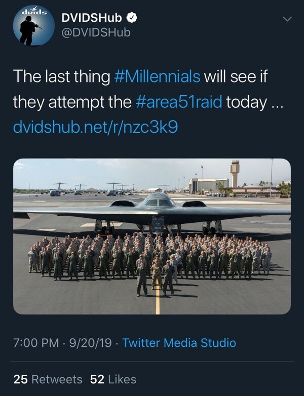 Screenshot of the now-deleted tweet from the Defense Visual Information Distribution Service. (DVIDSHub)