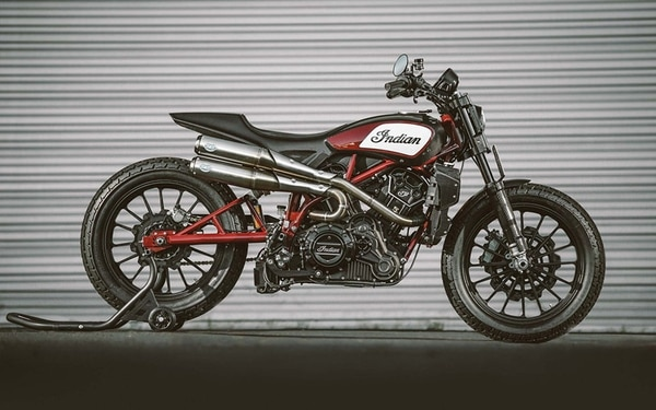 The Indian Scout FTR1200 Custom has a track-racing pedigree to go along with its slick look. (Indian)