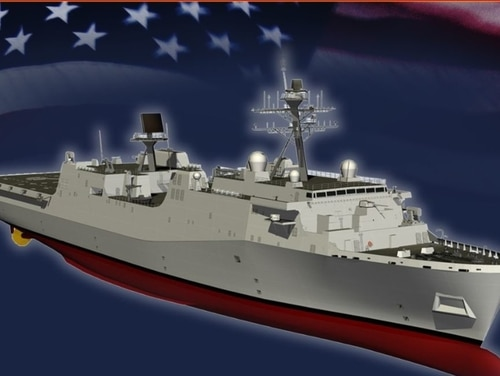 A graphic illustration of the future amphibious transport dock ship Pre-Commissioning Unit Harrisburg. (Navy)