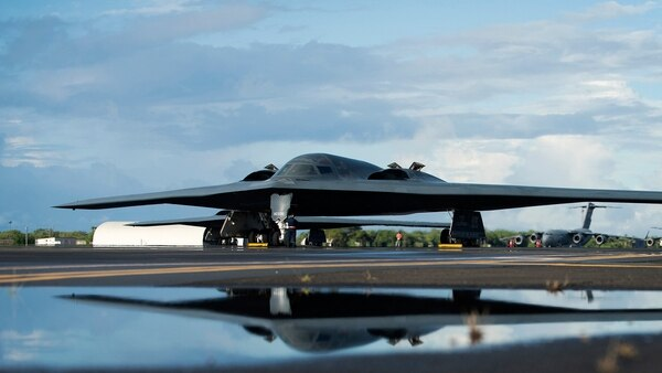 Both the B-2, shown, and F-22 programs were truncated in part due to the high price per plane (Staff Sgt. Danielle Quilla/U.S. Air Force)