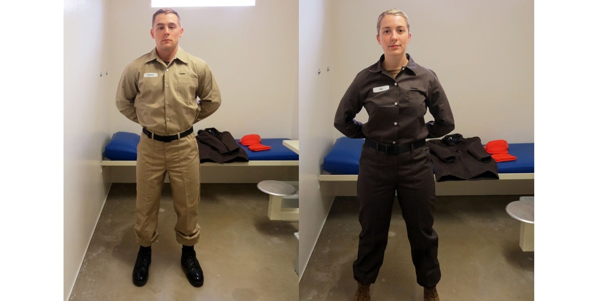 e4538421ea5 Officials have announced new uniforms for service members confined in Navy  detention facilities. Two versions are modeled here by sailors who work at  the ...