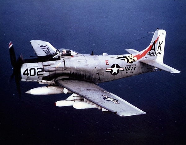 A U.S. Navy Douglas A-1J Skyraider of Attack Squadron 176, the Thunderbolts, in flight. VA-176 was assigned to Attack Carrier Air Wing 10 aboard the aircraft carrier USS Intrepid for a deployment to Vietnam from April 4 to Nov. 21, 1966. (U.S. Navy)