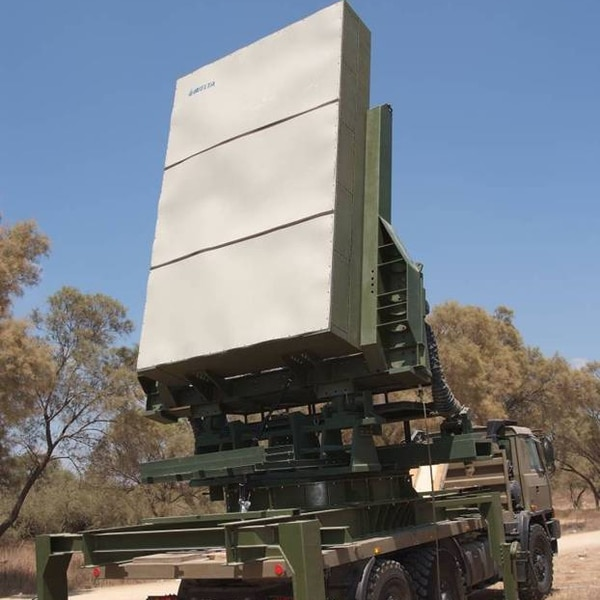 The ELM-2084 multimission radar is advertised as a high-accuracy medium-/long-range transportable radar system that can detect a bank of targets, including UAVs. (Israel Aerospace Industries via Getty Images)