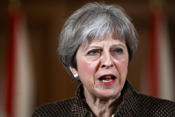 British Prime Minister Theresa May attends a press conference at 10 Downing Street on April 14, 2018 in London, England after RAF launched four Royal Air Force Tornado GR4s carrying Storm Shadow missiles to hit a military facility in Syria. (Simon Dawson/ WPA Pool/Getty Images)