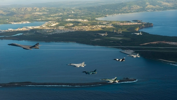 Aircraft from the United States, Japanese and Australian air forces fly in formation during exercise Cope North 2017 off the coast of Guam, Feb. 21, 2017. (Staff Sgt. Aaron Richardson/Air Force)
